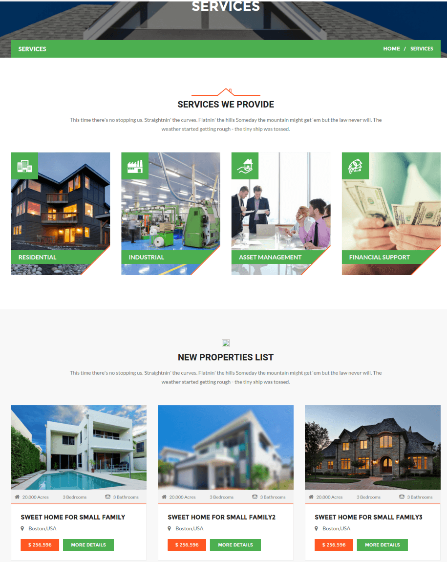 Services Page of Realtor