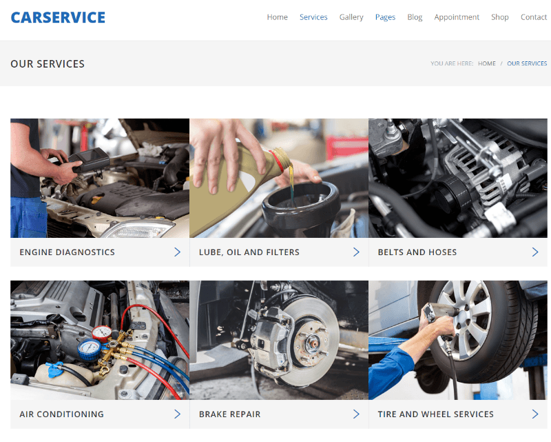Services of Car Service theme