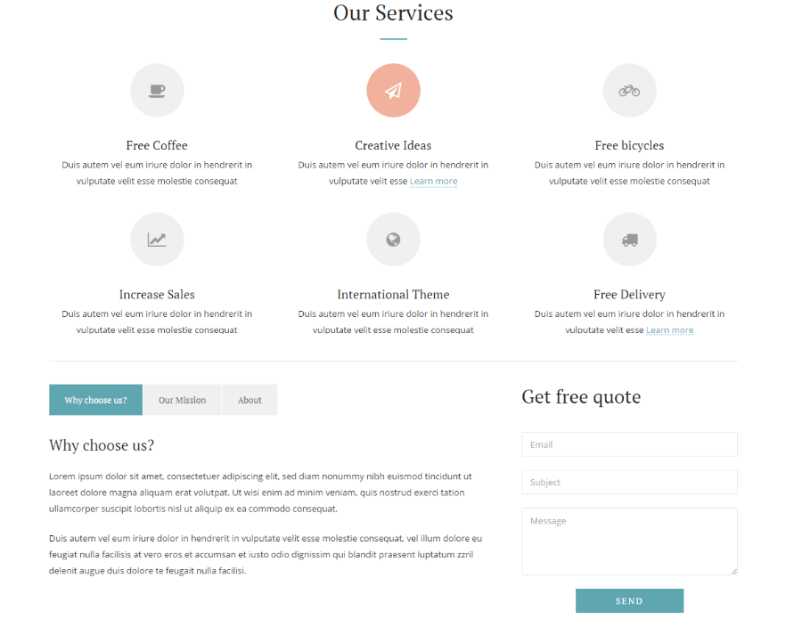 Services of Simple & Elegant theme