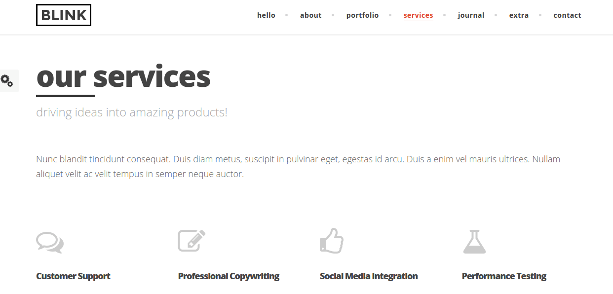 Services page of Blink