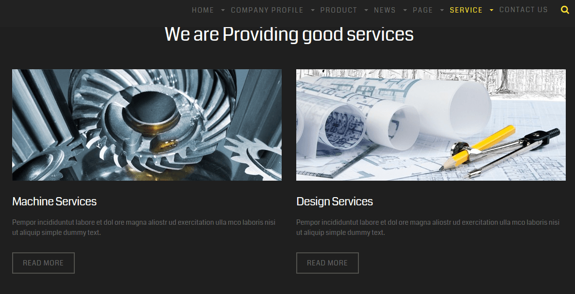 Services page of steel