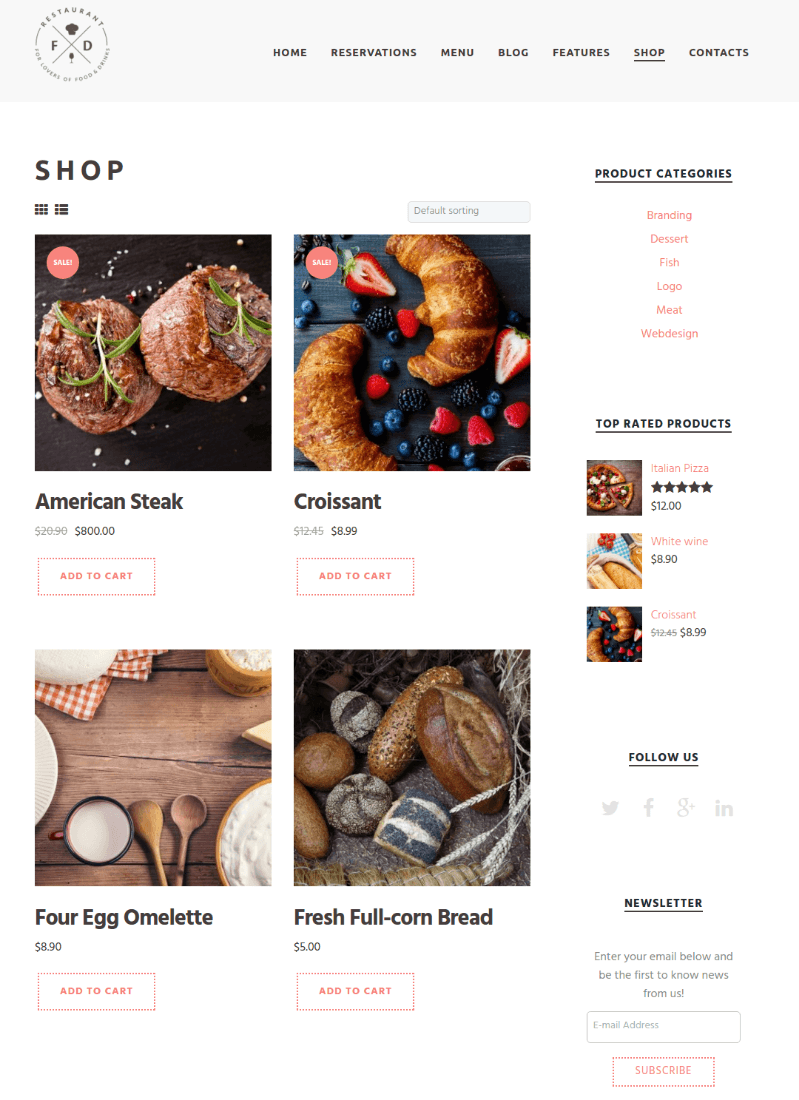 Shop Page Food & Drink