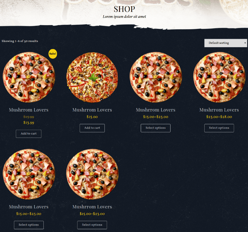 Shop Page - Food & Pizzeria