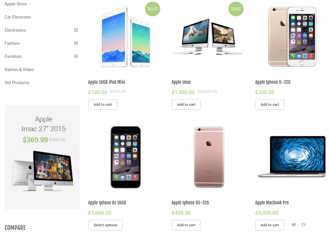 Shop Page of Unicase
