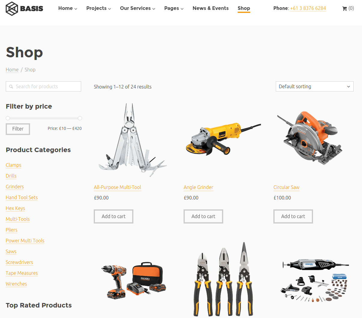 Shop page of Basis