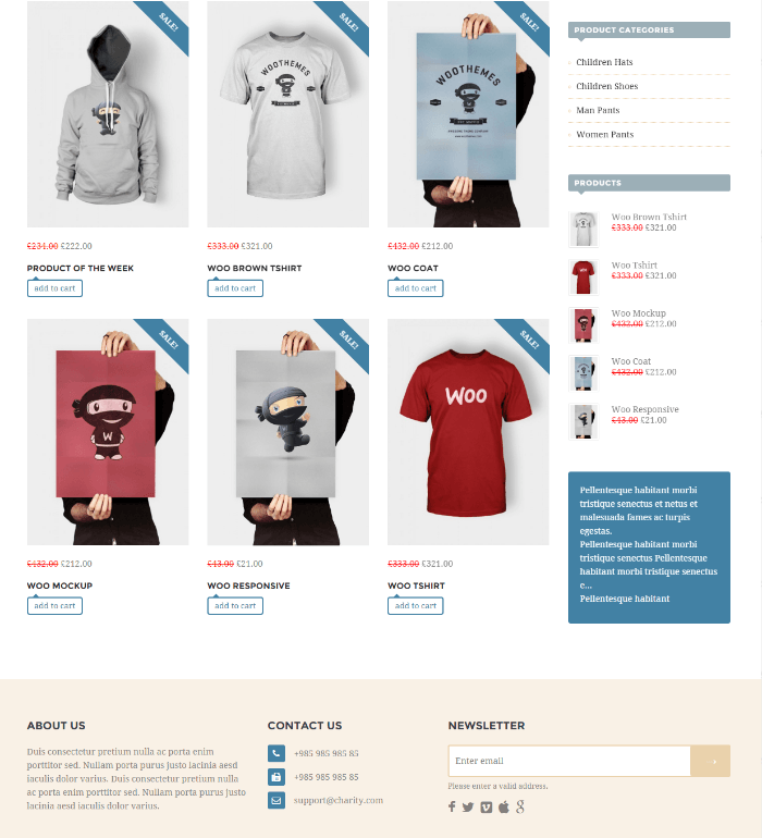 Shop page of Benefactor theme