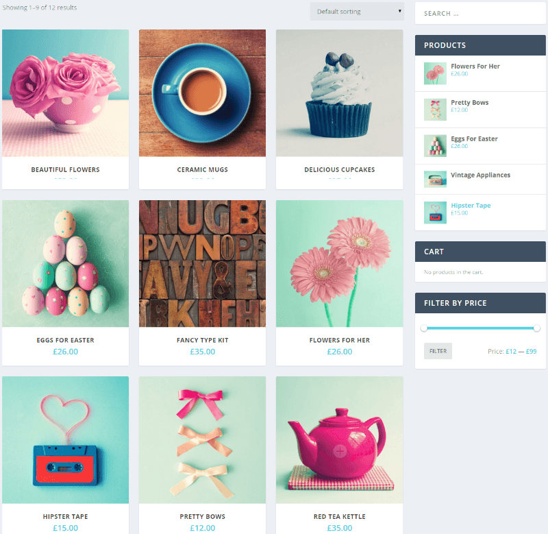 Shop page of Extra theme.