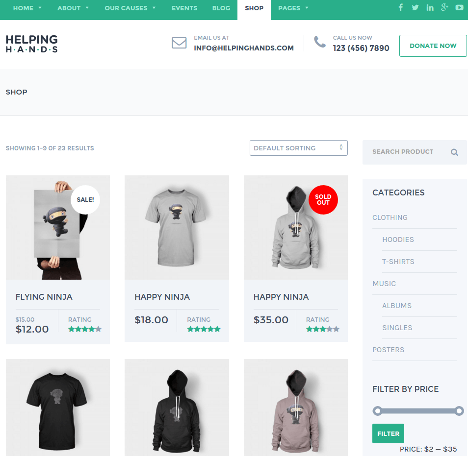 Shop page of Helping Hands