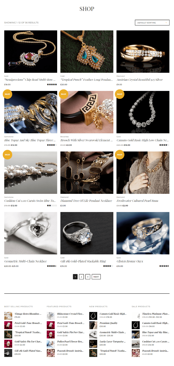 Shop page of Jewelrica theme