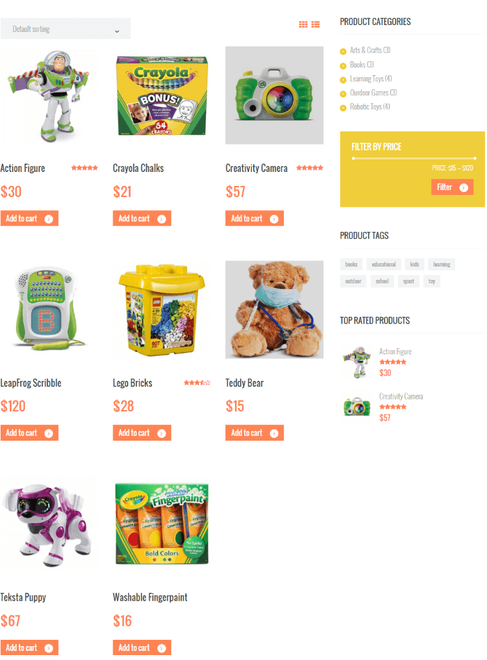 Shop page of Kids Planet theme