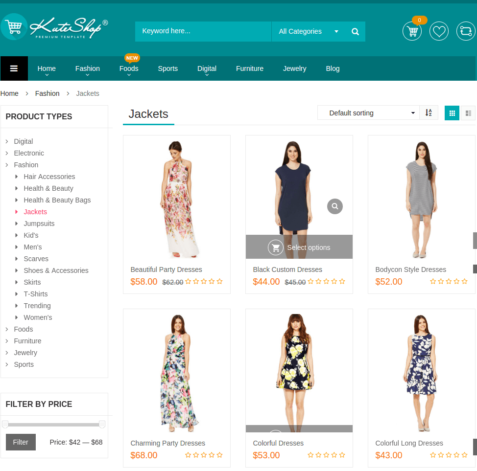 Shop page of KuteShop