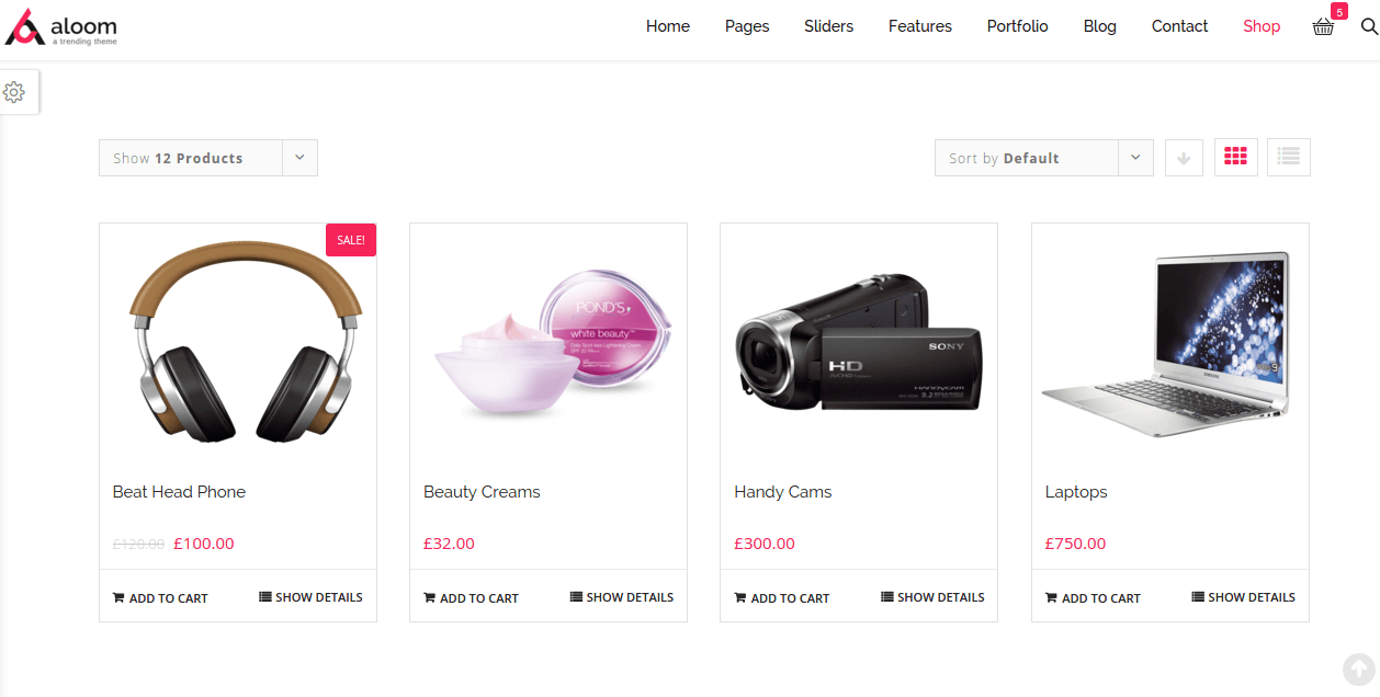 Shop page of aloom