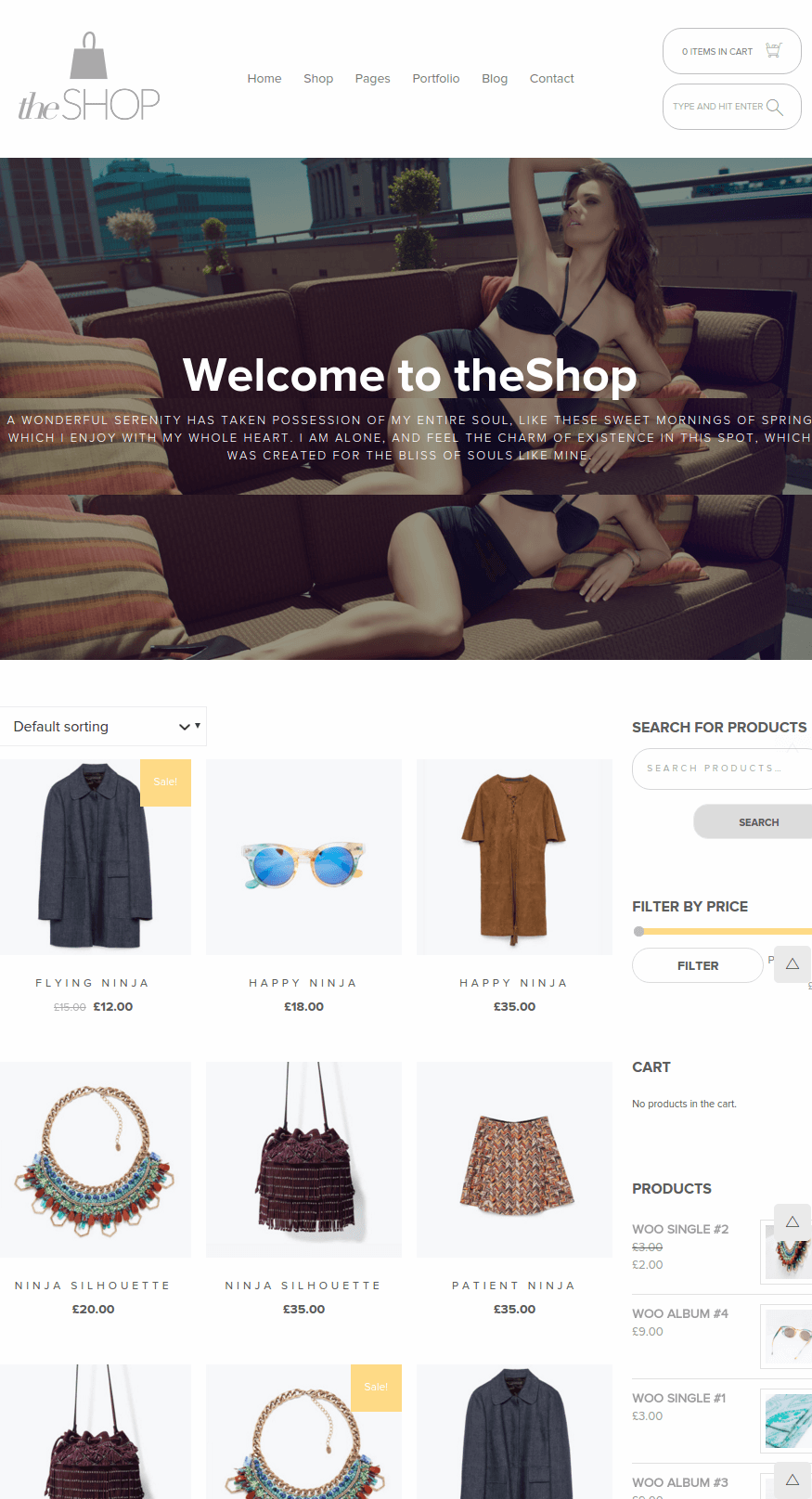 Shop page of theShop