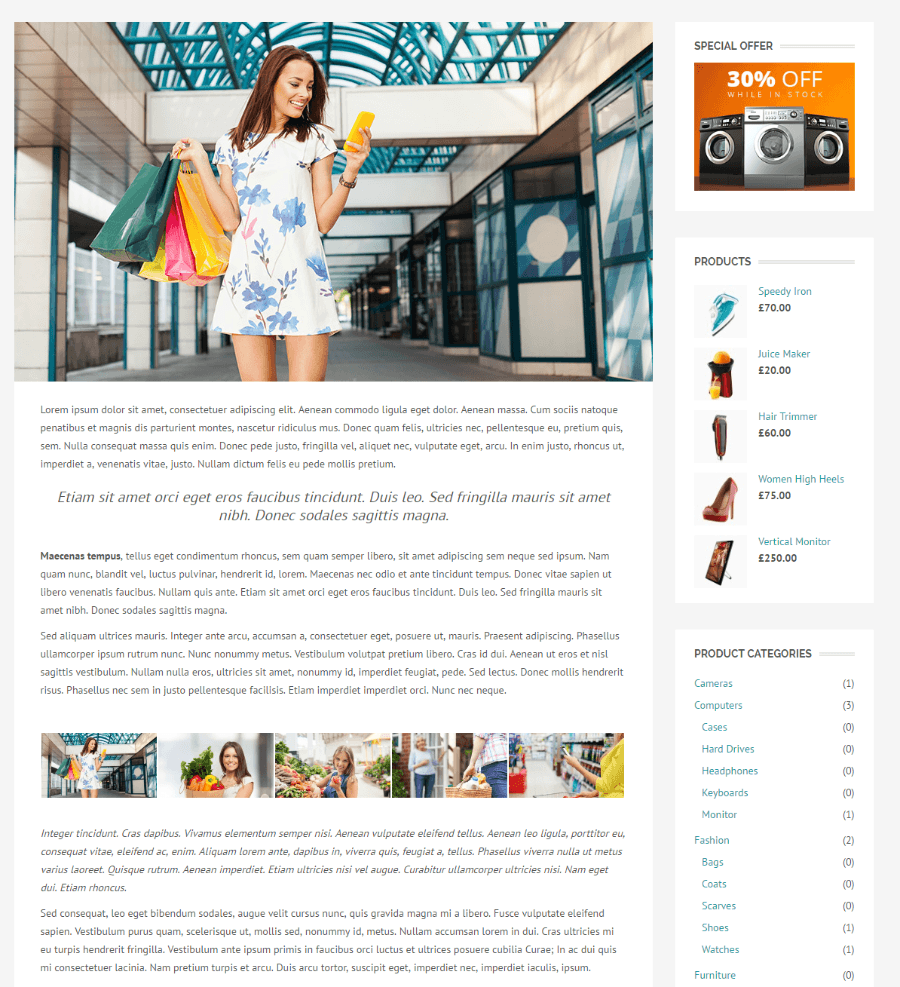 Shopica - page with right sidebar