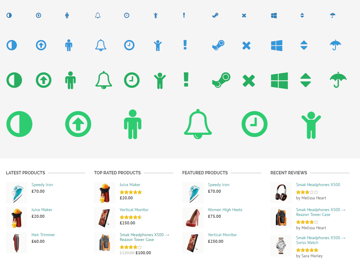 Shortcodes ( icons ) of Shopica theme