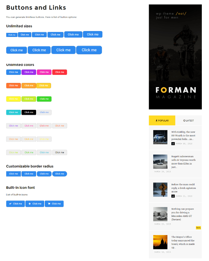 Shortcodes of Forman theme