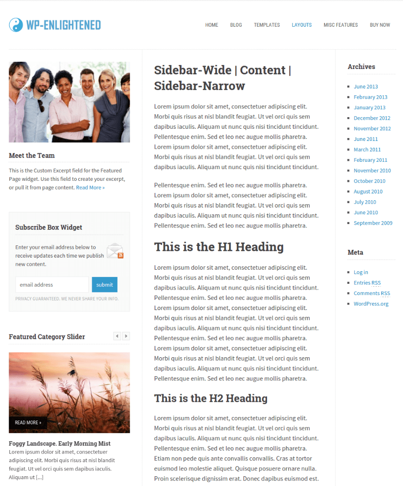 Sidebar-content-sidebar layout WP-Enlightened