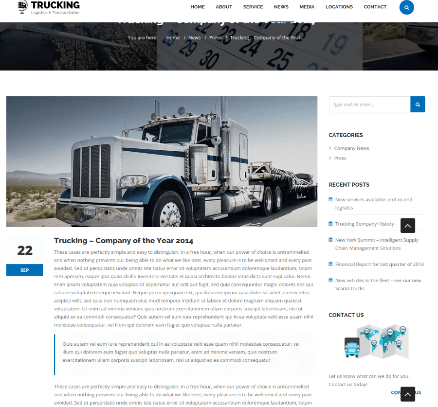 Single Blog Page - Trucking