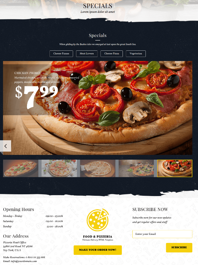 Specials Page - Food & Pizzeria
