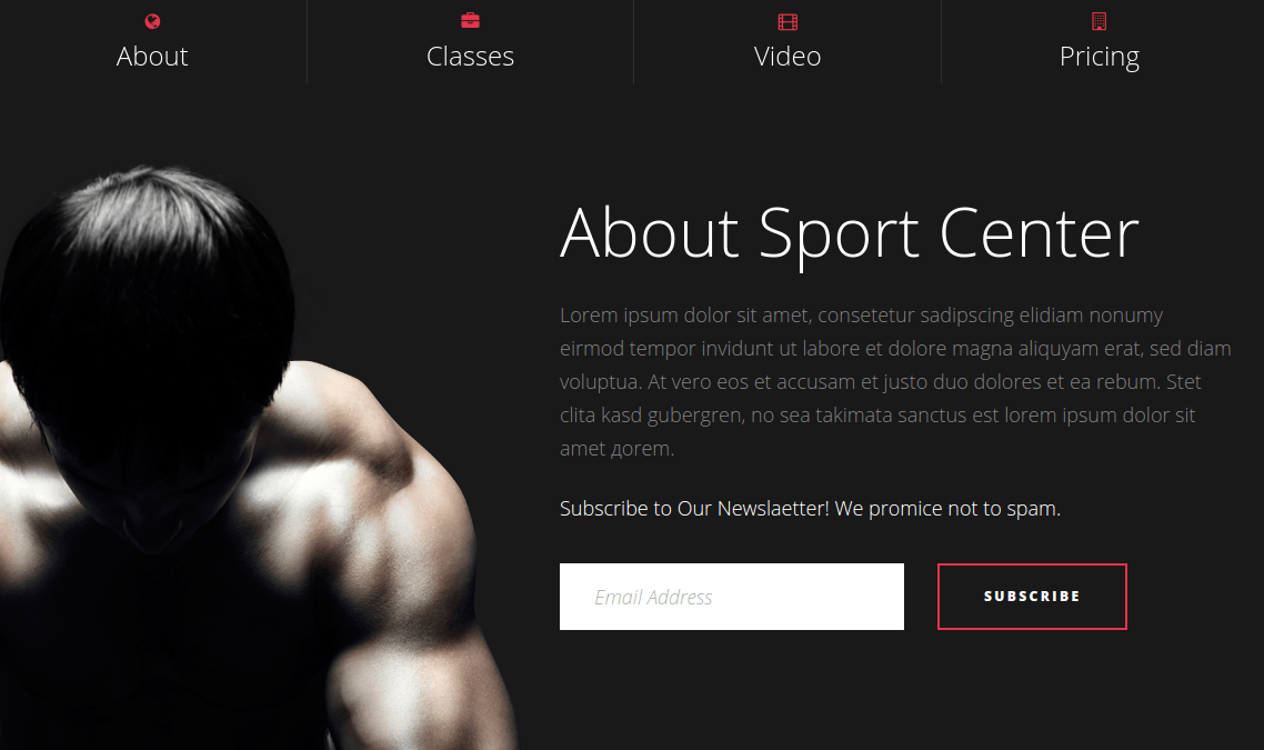 Sport Center About Section