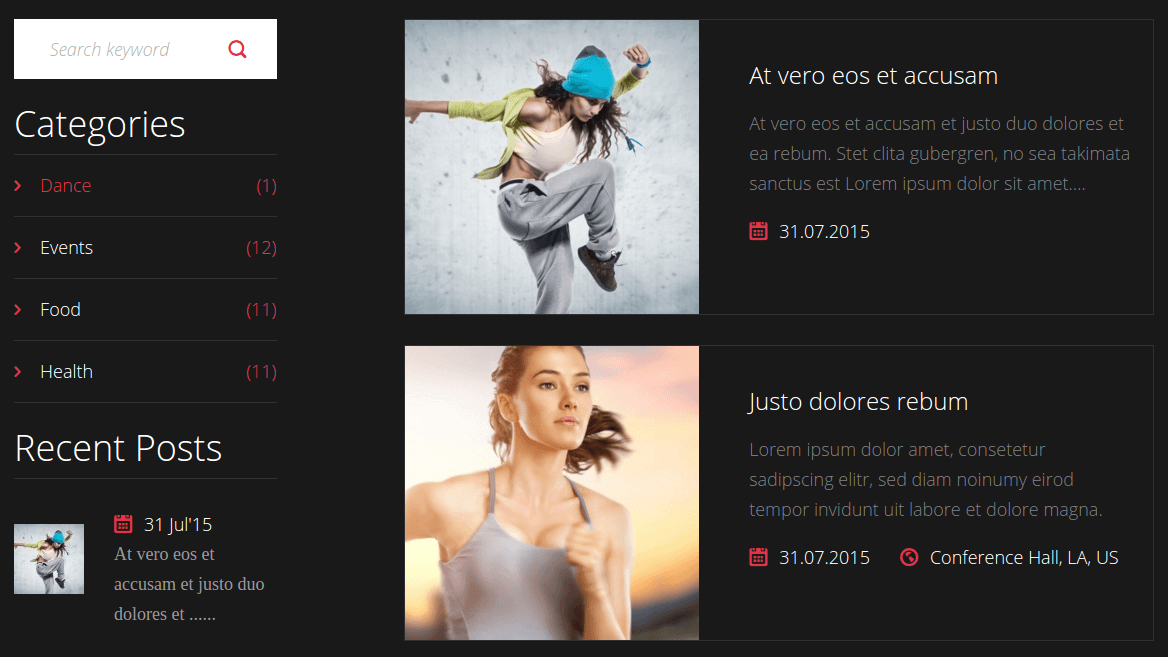 Sport Center Events Page