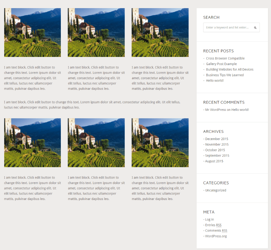 Stone Hill - Page with sidebar
