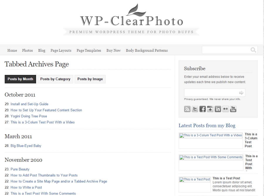 Tabbed archived page of WP-clearphoto theme