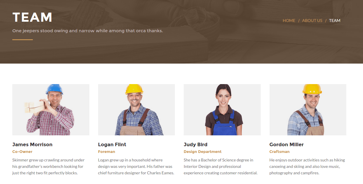 Team page of Woodworker