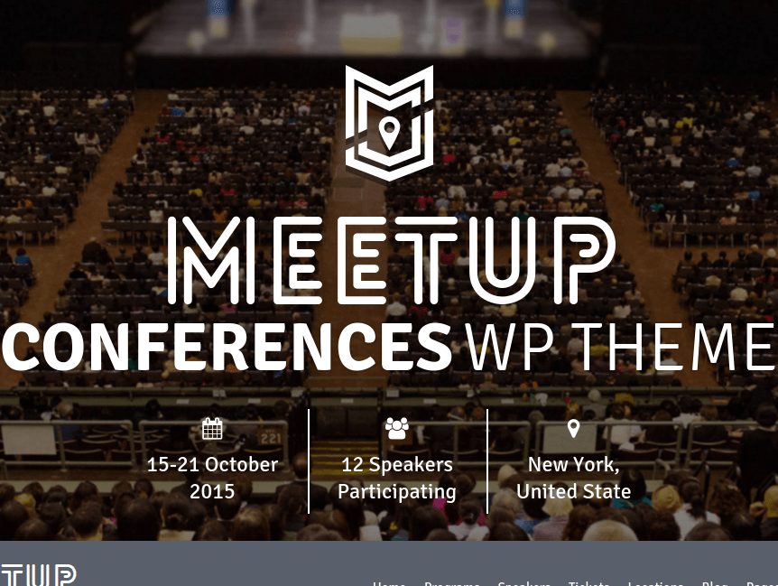 The meetup homepage