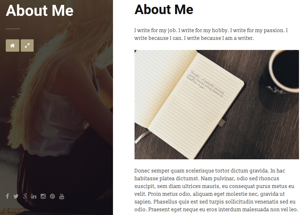 Thoughts About Me Page