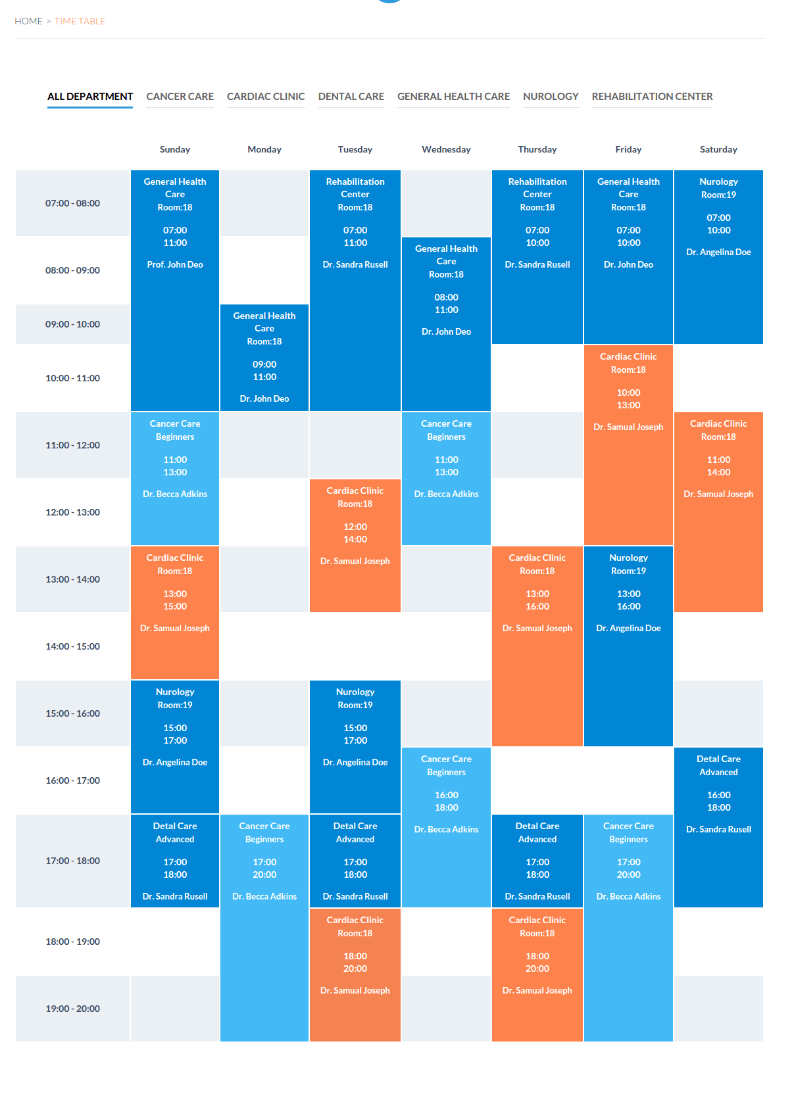Timetable Page - MedicalPro