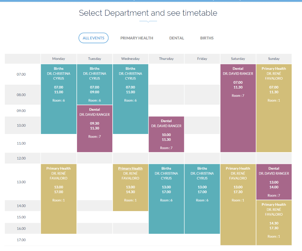Timetable of Health Plus theme
