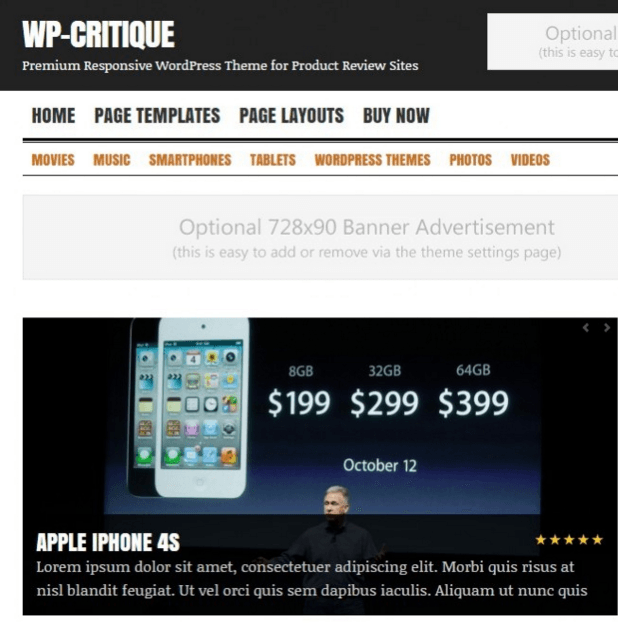 WP Critique - WordPress Multipurpose theme.