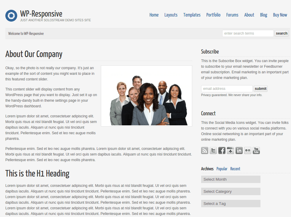 WP-Responsive About Page