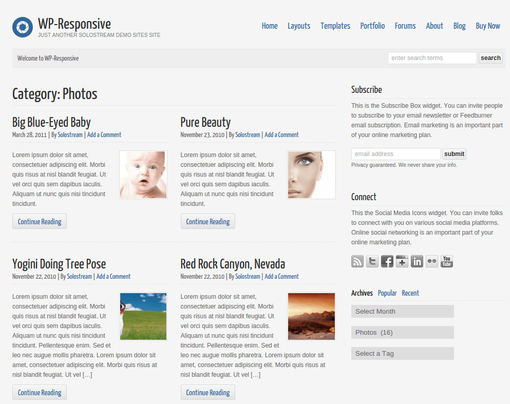 WP-Responsive Photos Page