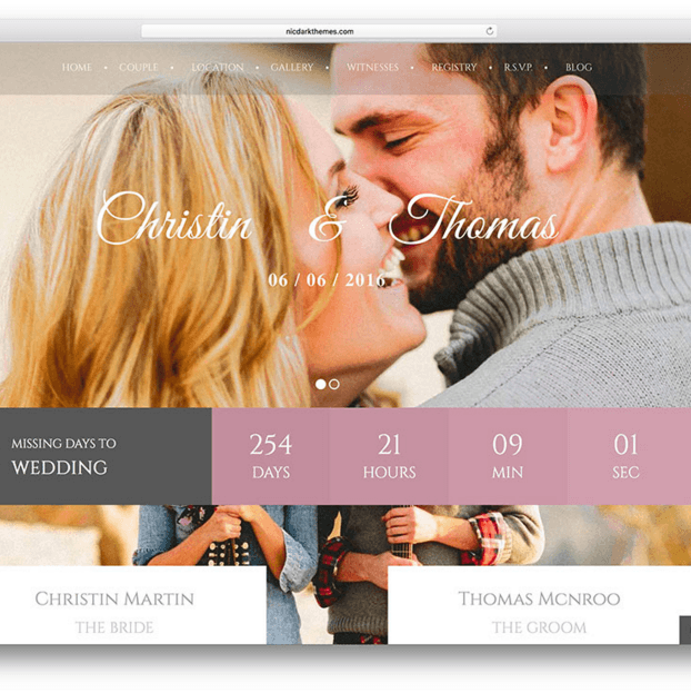 Wedding Couple - Responsive WordPress theme for Wedding Business
