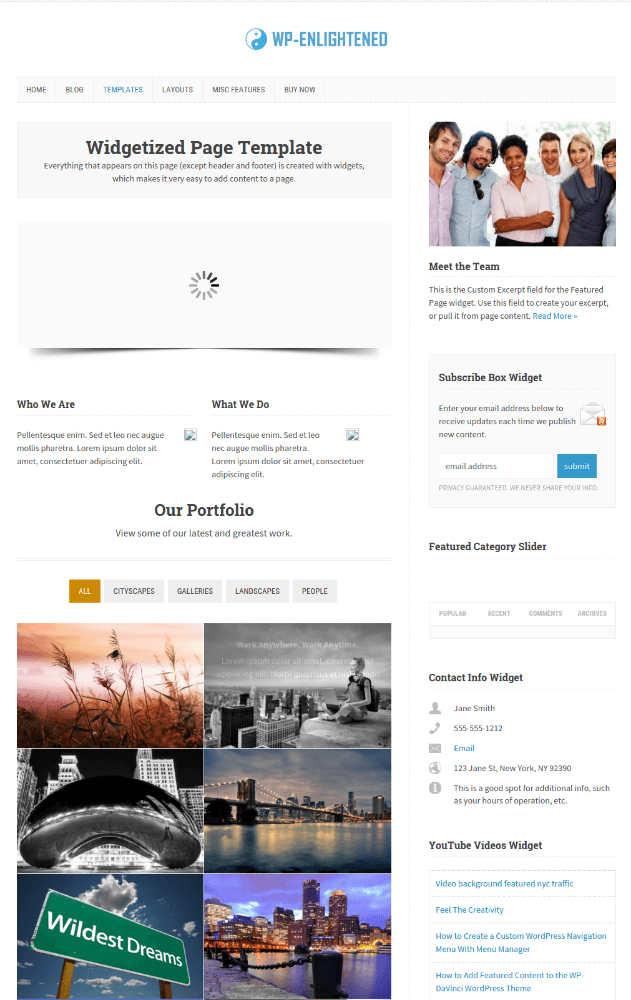 Widgetized Page Template WP-Enlightened