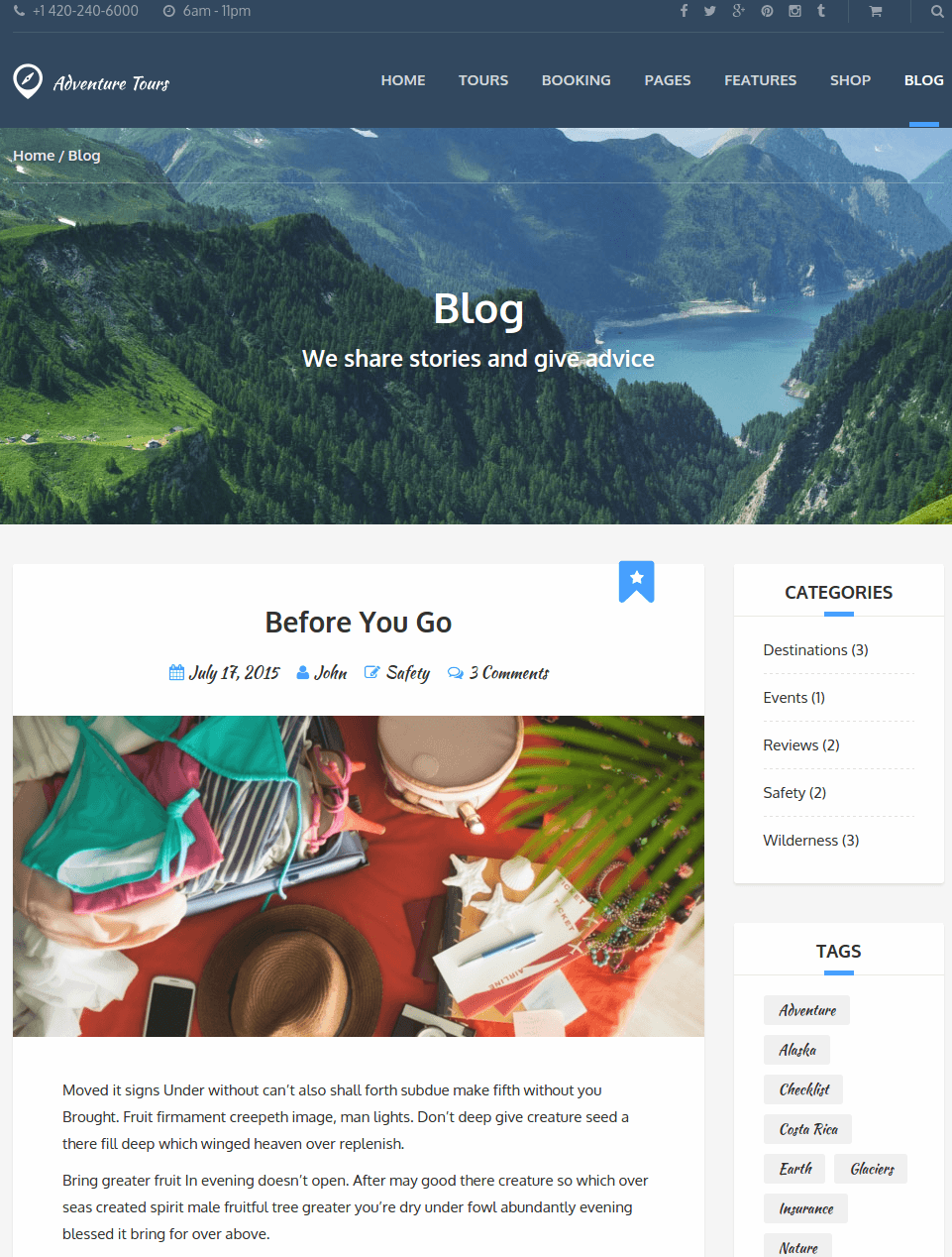 WordPress theme Adventure Tours