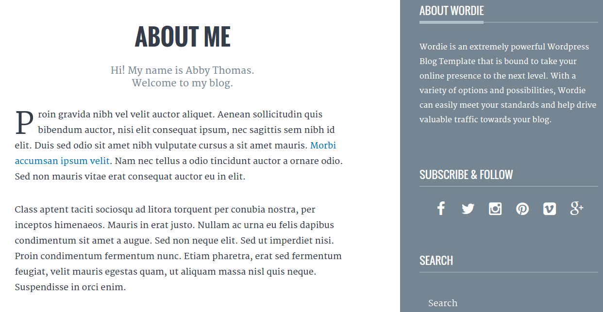 Wordie About Me Page