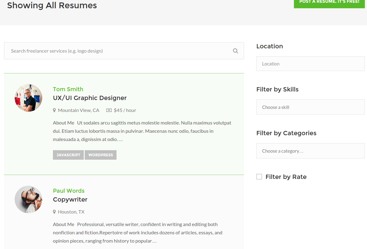 WorkScout All Resumes Page