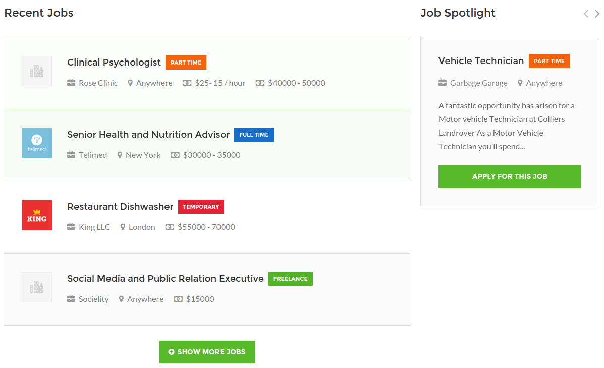 WorkScout Recent Jobs Page