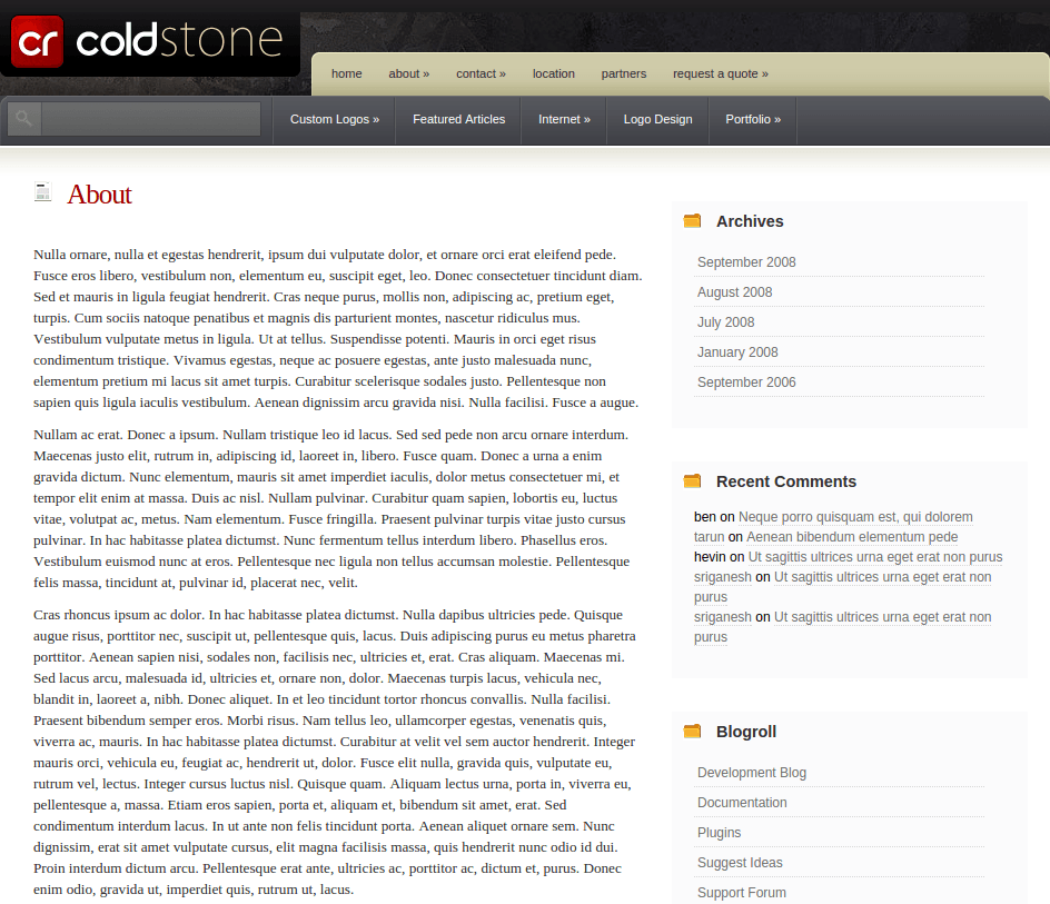 About Page of ColdStone