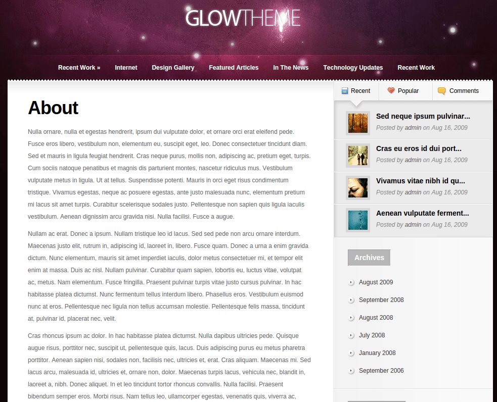 About Page of Glow