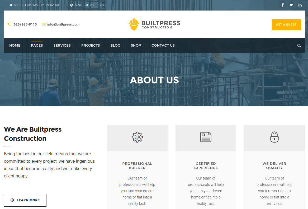 About Us Page of BuiltPress