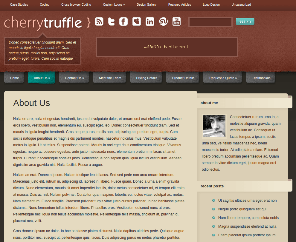 About Us Page of CherryTruffle