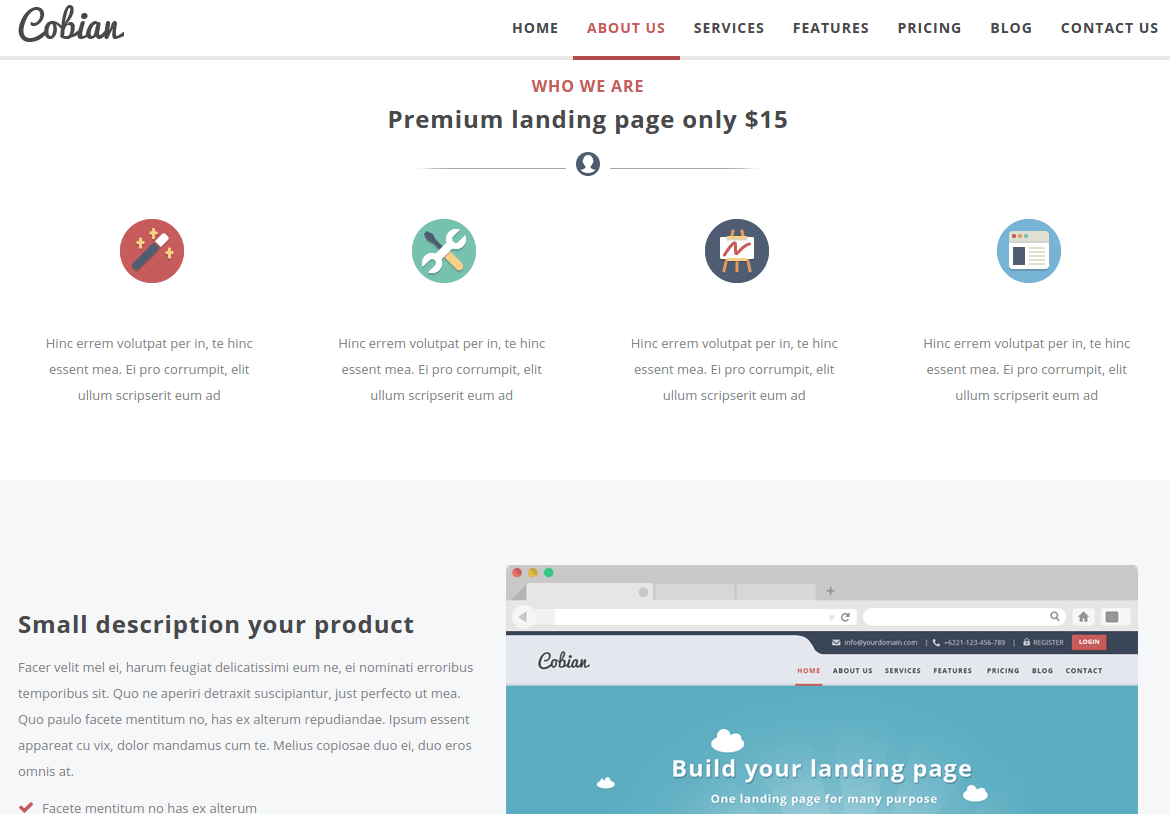 About Us Page of Cobian