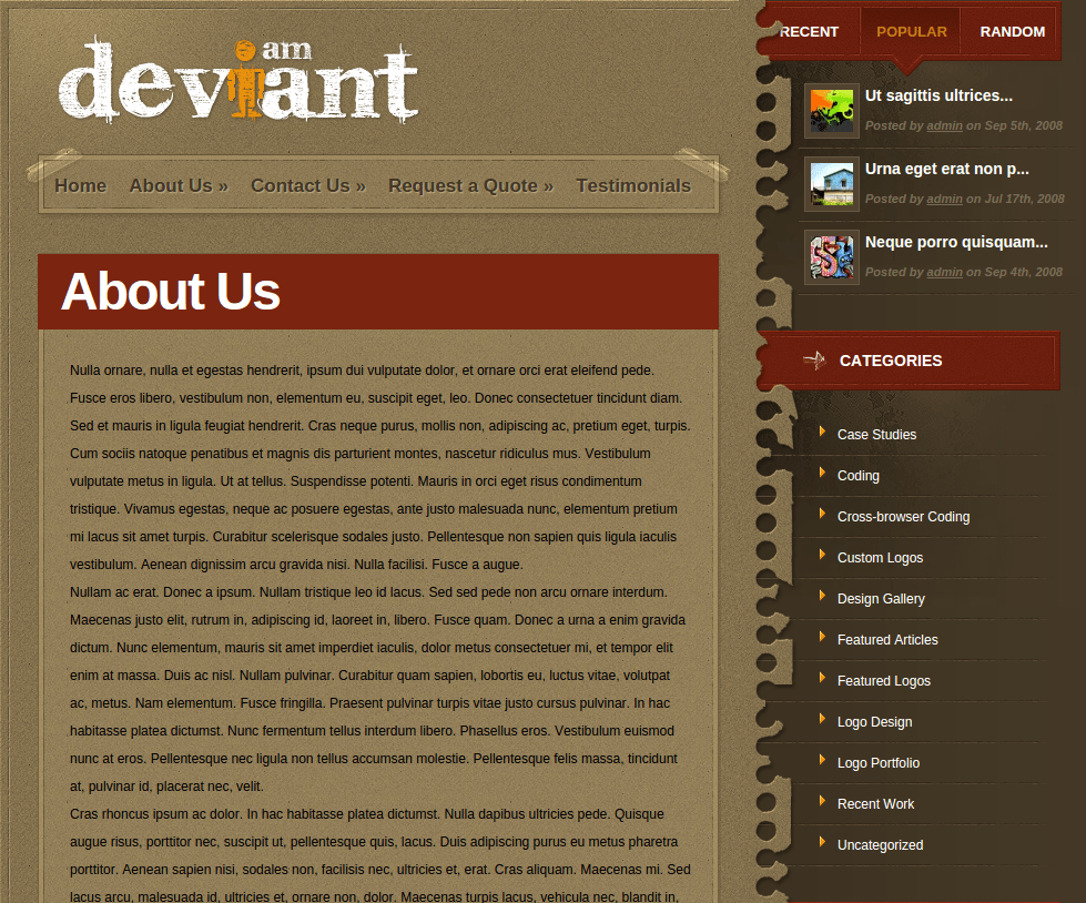 About Us Page of Deviant