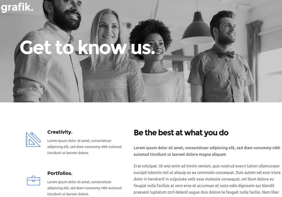 About Us Page of Grafik