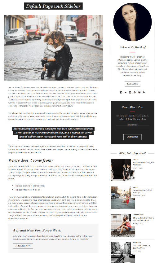 Avocet - page with sidebar