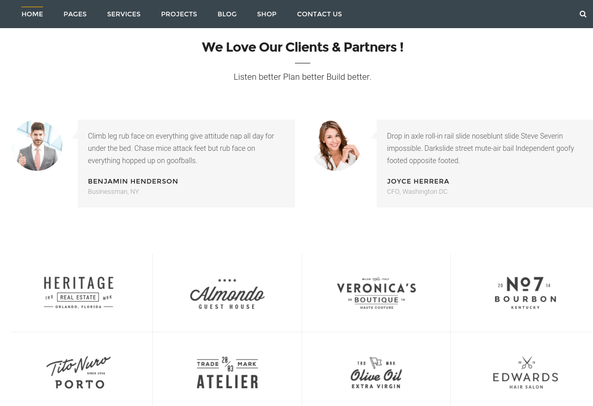 Clients Section of BuiltPress